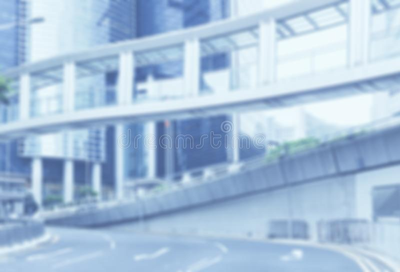 Blurred street background, defocused building. Out focus street, urban backdrop. City abstract, banner background. Blue soft focus colors. Hong Kong, Central stock photos
