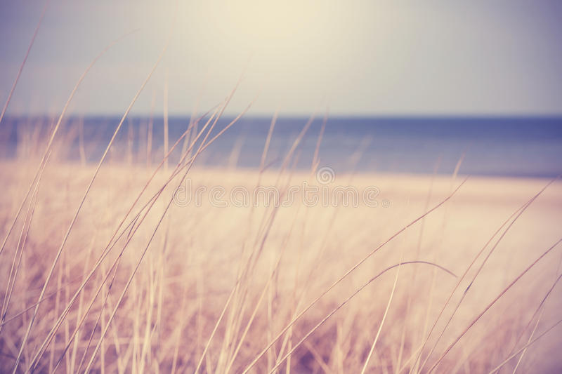 Blurred summer beach background in retro vintage style stock photos