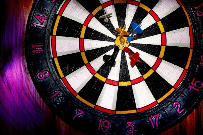 Blurred target darts. It can be used as background for creating collages and illustrations on the theme of sports games, darts, etc royalty free stock photography