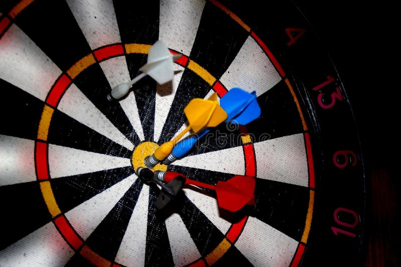 Blurred target darts. It can be used as background for creating collages and illustrations on the theme of sports games, darts, etc stock photography