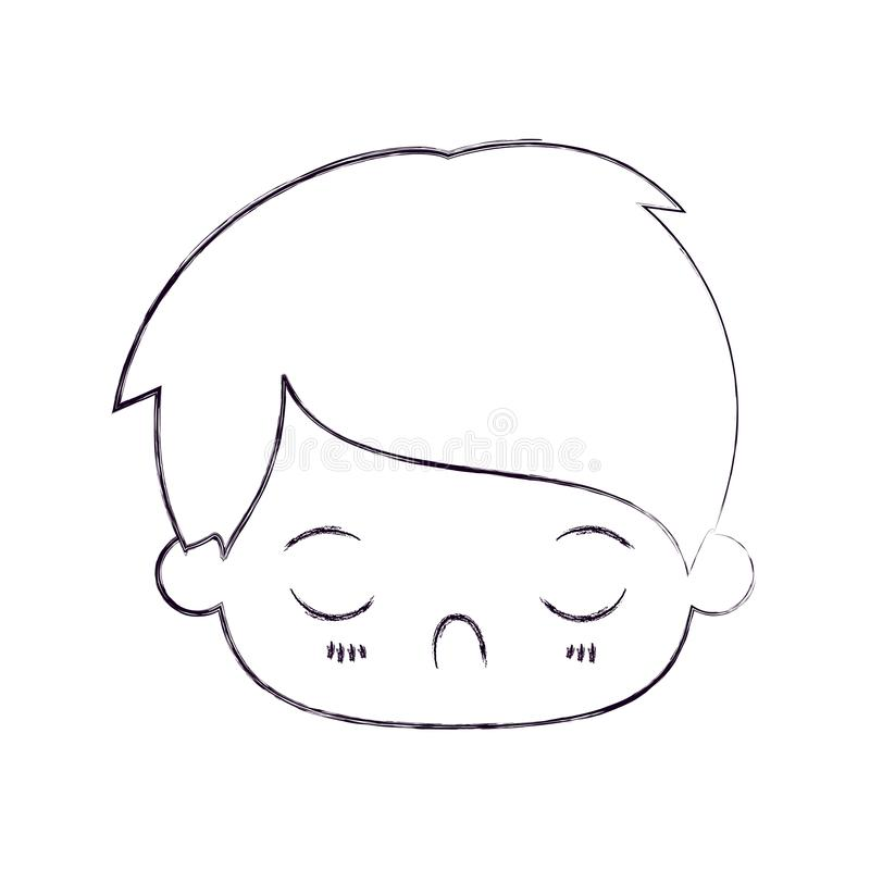 Blurred thin silhouette of kawaii head of little boy with facial expression disgust with closed eyes. Vector illustration royalty free illustration