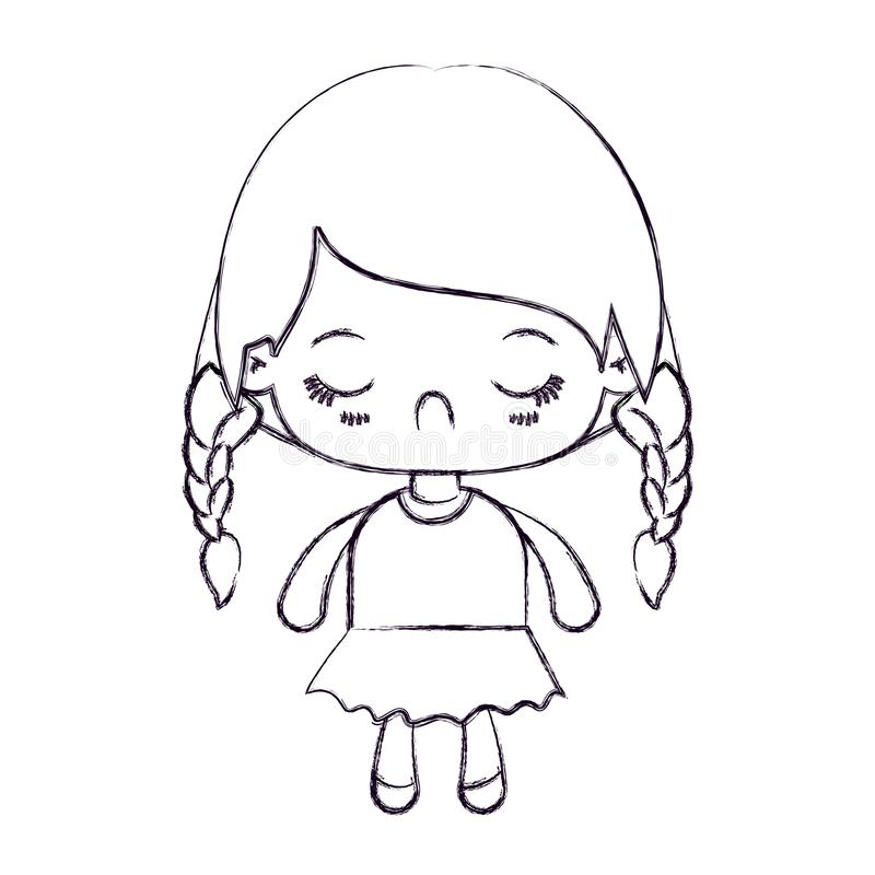 Blurred thin silhouette of kawaii little girl with braided hair and facial expression disgust. Vector illustration vector illustration