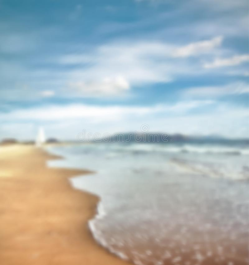 Background Of Blurred Beach And Sea Waves With Bokeh: Sea Wave Vector Stock Photos