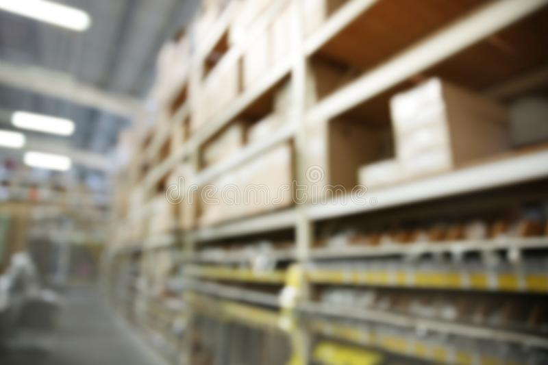 Blurred view of inventory. Blurred view of warehouse inventory royalty free stock photography