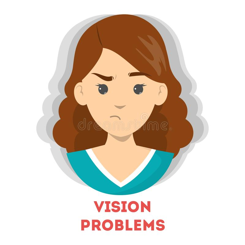 Blurred vision as a symptom of disease. Eye problem. Difficulty on focusing. Vector illustration in cartoon style royalty free illustration
