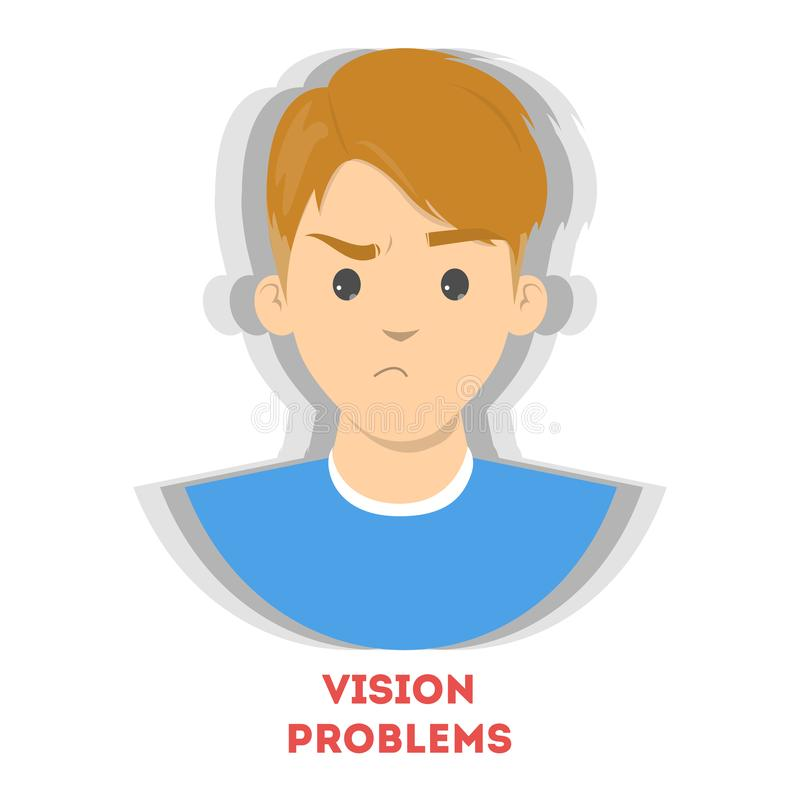 Blurred vision as a symptom of disease. Eye problem. Difficulty on focusing. Vector illustration in cartoon style vector illustration