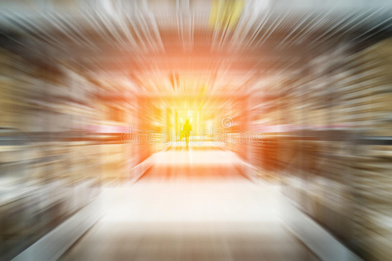 Blurred warehouse or storehouse for background, fast moving effect stock photos