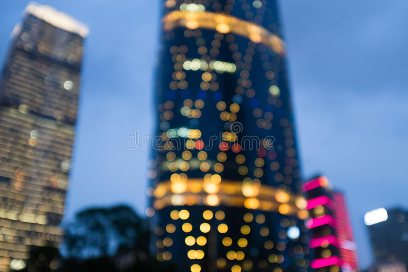 Blurry abstract city background at night stock photo