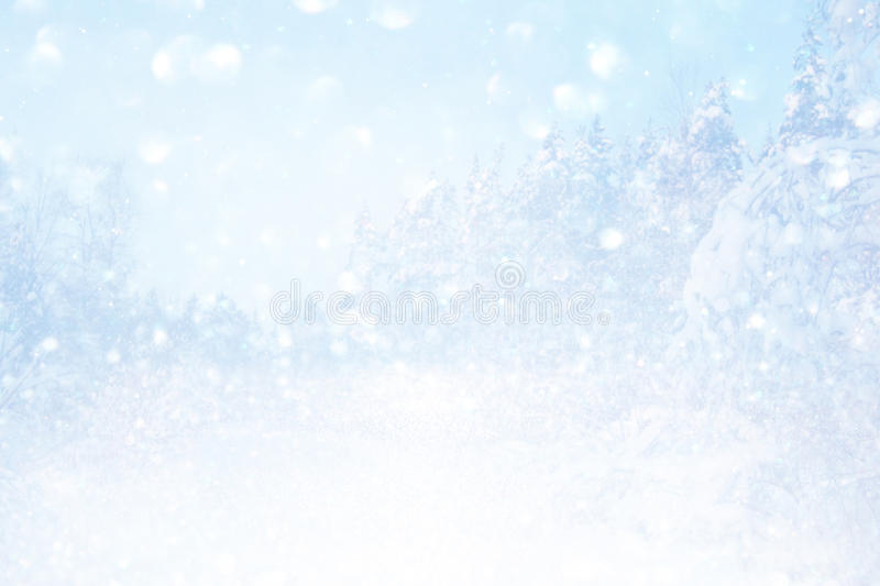Blurry and abstract magical winter landscape royalty free stock image