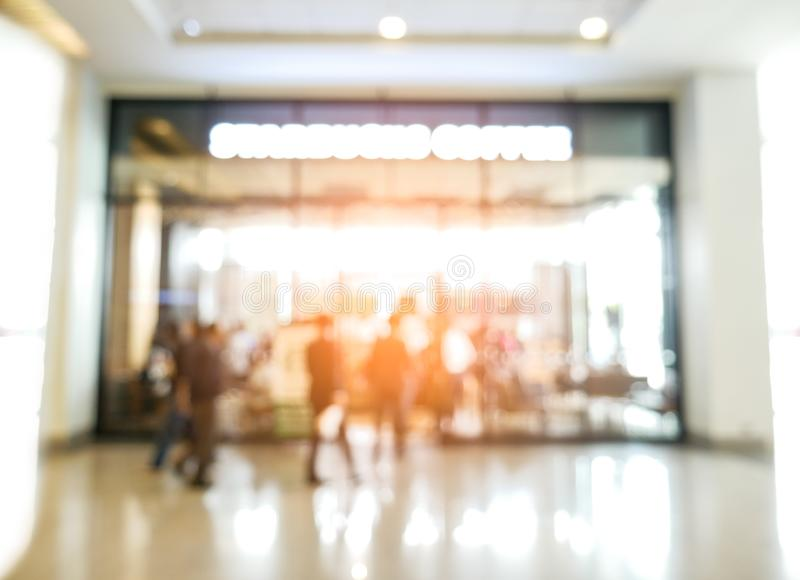 Blurry background of coffee shop and crowd people. Abstract and. Business concept. Restaurant and Shopping mall theme royalty free stock photo