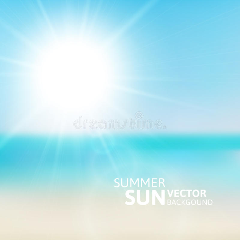 Blurry beach and blue sky with summer sun stock illustration