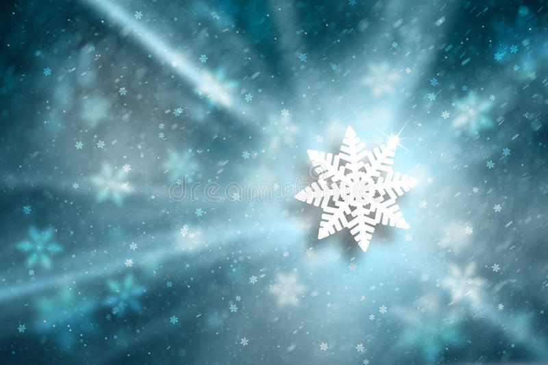 Blurry blue color snowflake Christmas illustration background. Blurry blue color abstract snowflake Christmas Holiday illustration background with magic light royalty free stock photo
