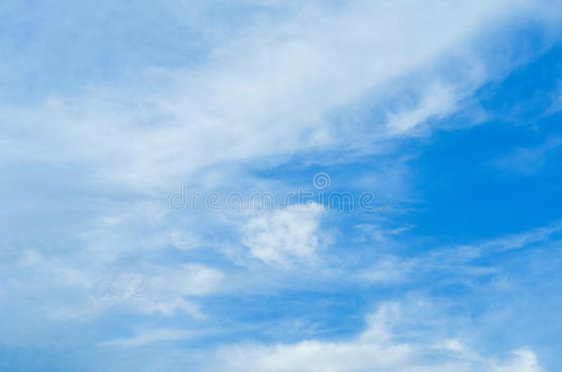 Blurry Blue Sky and clouds on the day of thunderstorms. Shines orange on the clouds.  stock images