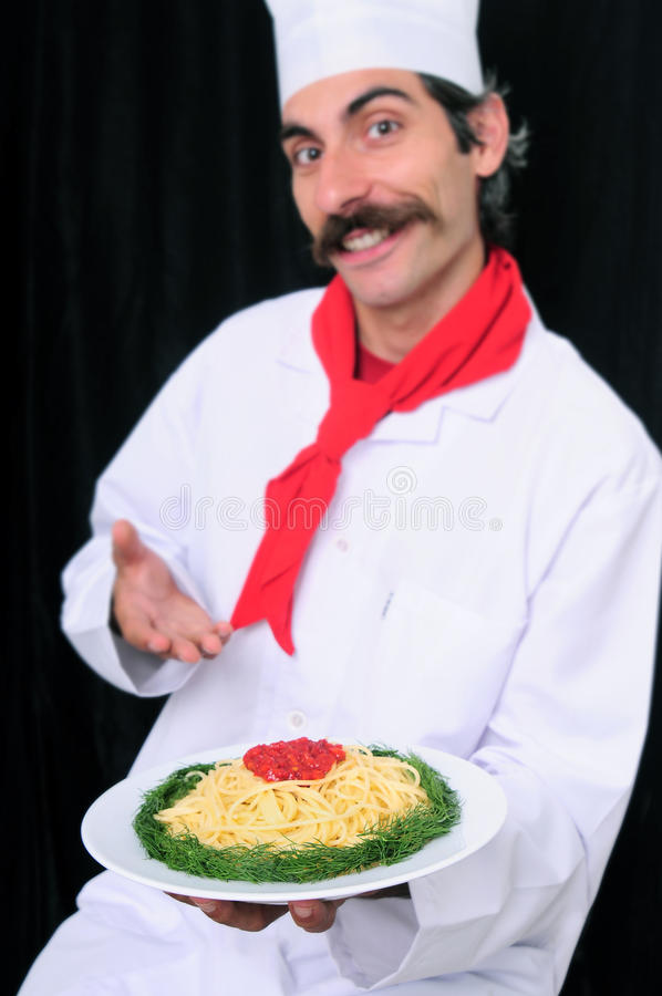 Download Blurry Chef Showing Spaghetti Plate Stock Image - Image: 11270491