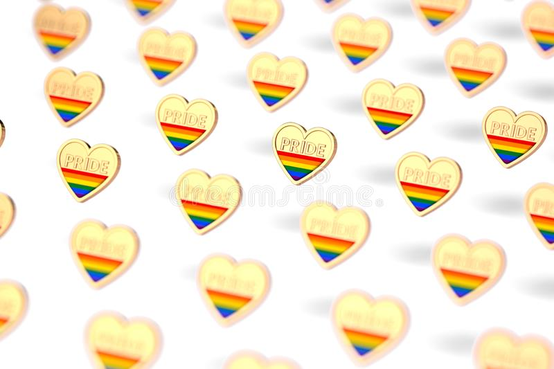 Blurry closeup shot on golden heart with rainbow and word PRIDE inside pattern. June as month of pride concept.  on white vector illustration