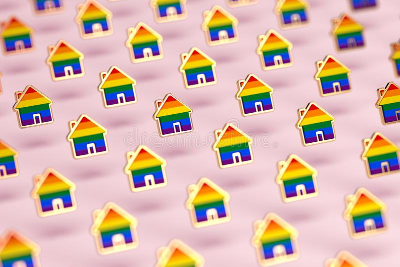 Blurry closeup shot on group of gay pride rainbow in a home shape  on pastel pink background. LGBTQ people rights to live royalty free illustration