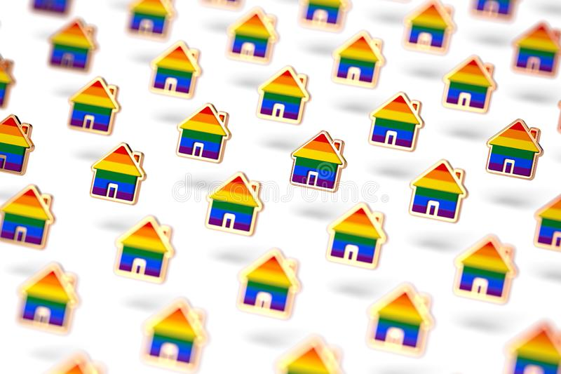 Blurry closeup shot on group of gay pride rainbow in a home shape  on white background. LGBTQ people rights to live stock illustration