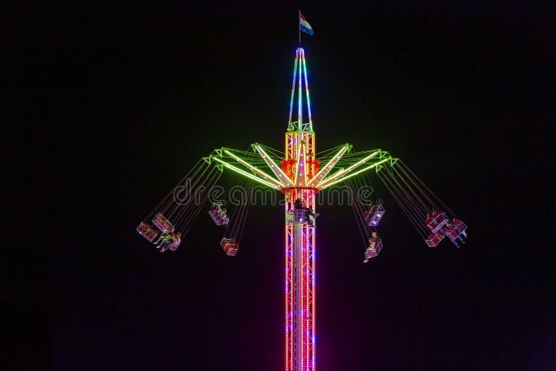Colourfull whirligig at the Sassenheim town fair. stock image