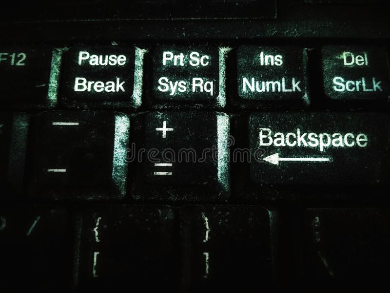 Dirty dusty laptop`s keyboard keys. Blurry dirty dusty laptop keyboard keys, with grunge effects close up view stock photos