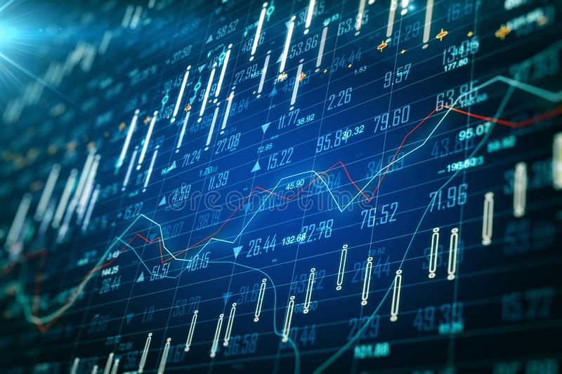 Blurry forex wallpaper. Blurry glowing blue forex chart wallpaper with grid. Invest and finance concept. 3D Rendering royalty free stock photography