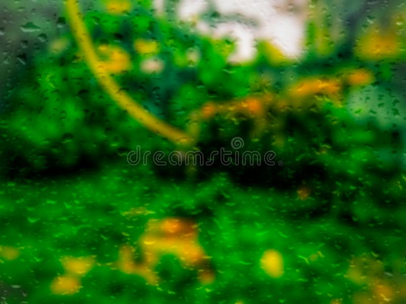 Blurry grainy abstract nature, raindrop effect  use for background. Blur, foliage. Blurry grainy abstract nature use for background. Blur, foliage. Raindrops stock photo