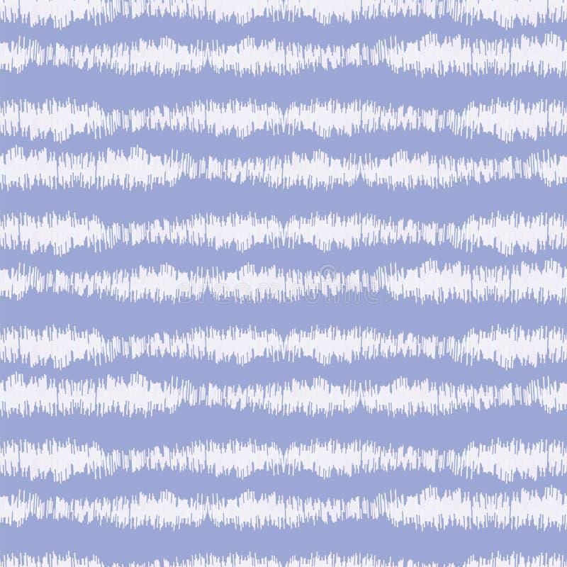 Blurry Indigo Blue Shibori Strip Farbstoff Hintergrund Nahtloses Muster mit unregelmäßigem gebrochenem Streifen, gebleicht, stand lizenzfreie abbildung