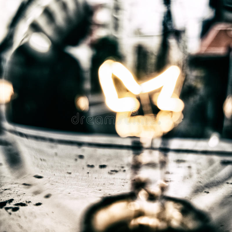 Blurry light bulb background. Blurry abstract background. Light bulb close up with street view. Tokyo royalty free stock photos