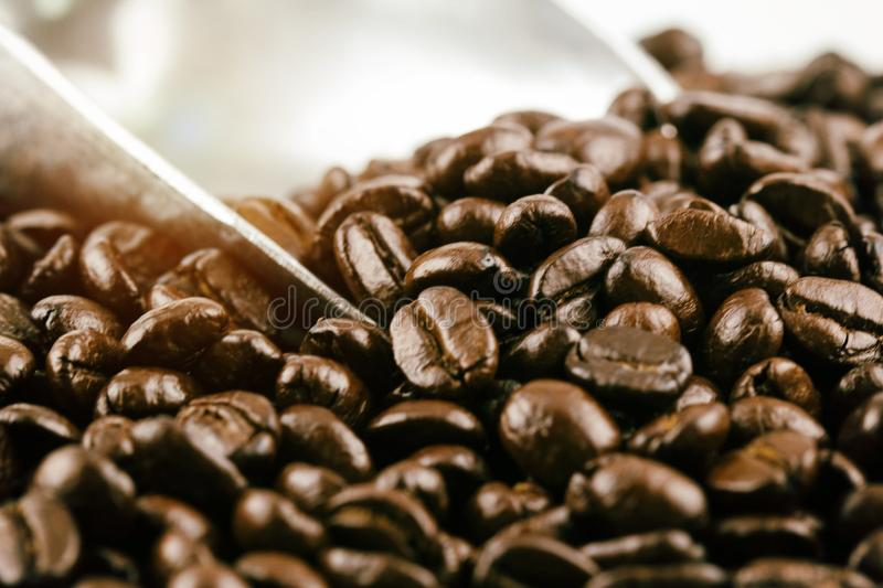 The blurry light design background of roasted coffee beans stock photography