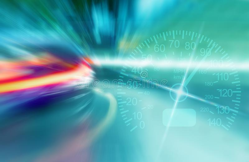 Blurry lights of rushing cars in the night city. Speedometer. Abstract concept of fast driving stock photos