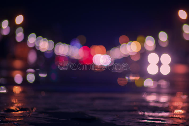 Blurry lights on the street. royalty free stock photo