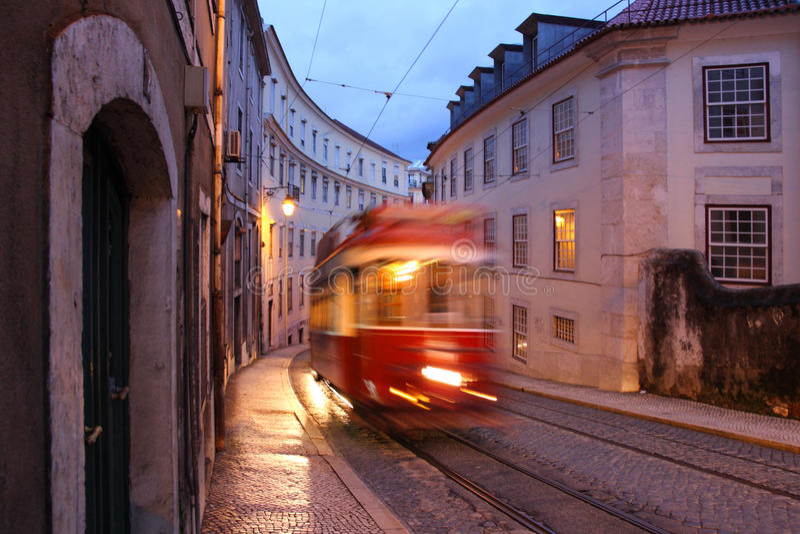 Blurry Lisbon tram royalty free stock photography