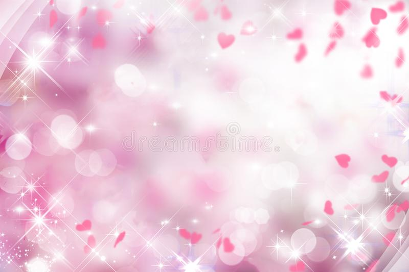 Blurry purple background with pink and white and hearts on Valentine`s day, wedding,holiday,sparkle,bokeh royalty free illustration