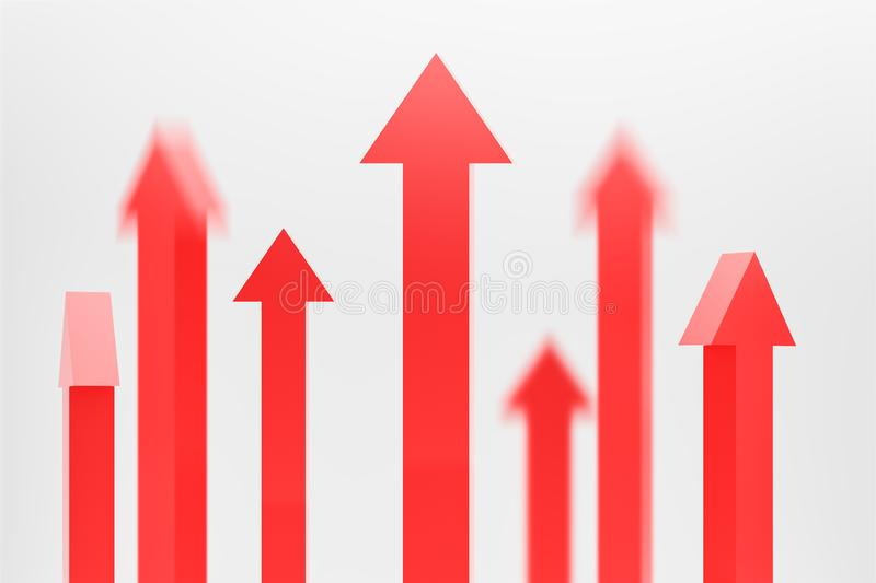 Blurry red arrows pointing up, growth concept stock image