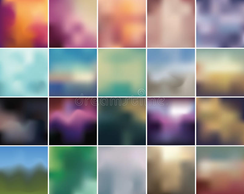 Blurry retro backdrop collection. Complete set of retro color blurry abstract backgrounds royalty free illustration