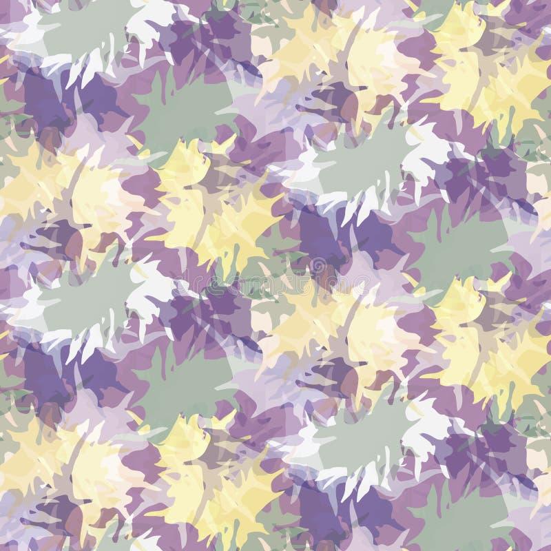 Blurry shibori binden Farbstoff abstrakte Splash Hintergrund Nahtloses Muster auf gebleicht gebleichter Weiß Frühlingspalette stock abbildung