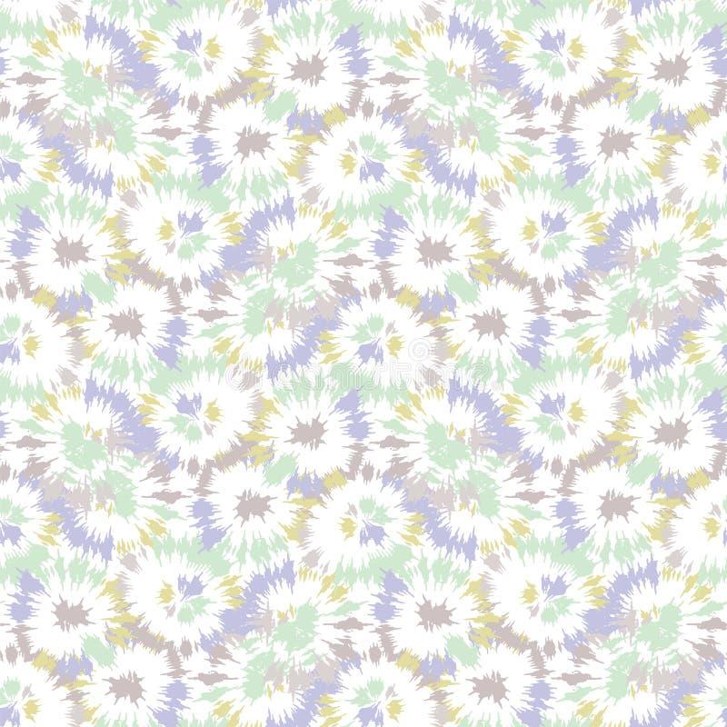 Blurry shibori binden Farbstoff naive daisy Hintergrund Nahtloses Muster auf gebleicht gebleichter Weiß Neo-Minze-Frühlingspalett lizenzfreie abbildung