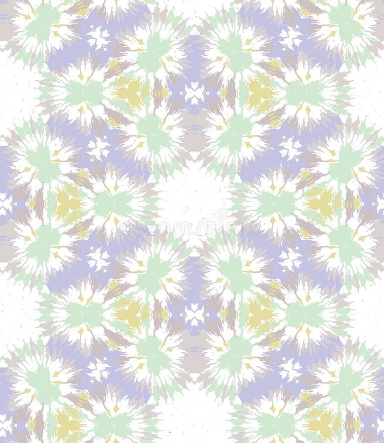 Blurry shibori gravata dye naive daisy background Padrão sem costura no branco resistente branqueado Pasta de menta neo de primav ilustração royalty free