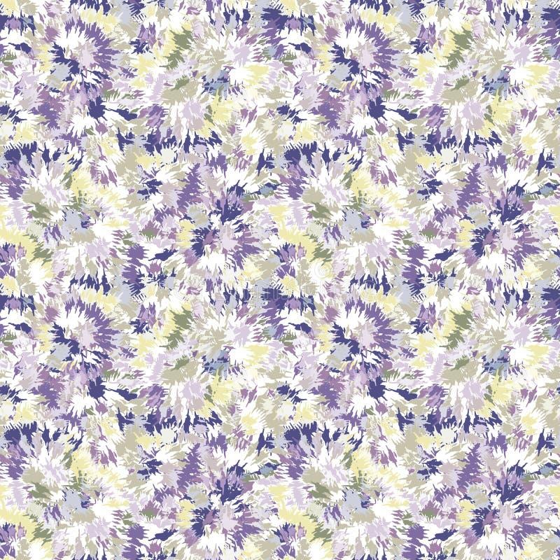 Blurry shibori gravata dye naive daisy background Padrão sem costura no branco resistente branqueado Pasto lilar de primavera par ilustração do vetor