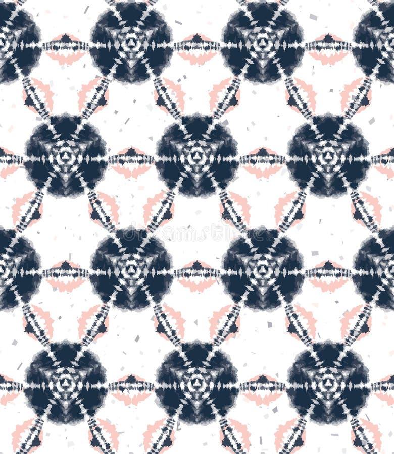 Blurry Shibori Krawatte Farbstoff Sonnenbrennen Hintergrund Nahtlose Muster Indigokorallen gebleicht Hintergrund japanischer Stil stock abbildung