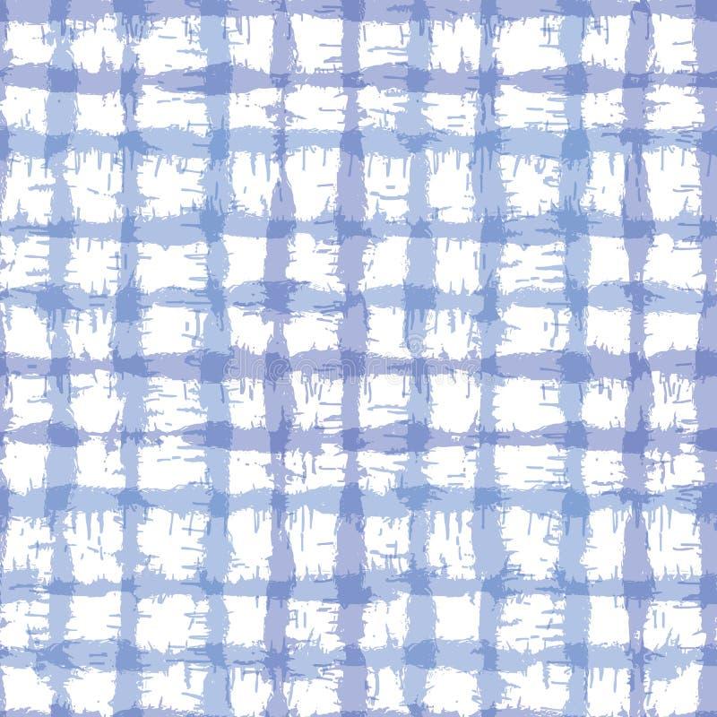 Blurry shibori plaid check tie dyp background Padrão constante irregular crosta entre crus resistentes a fundo branco japonês ilustração do vetor