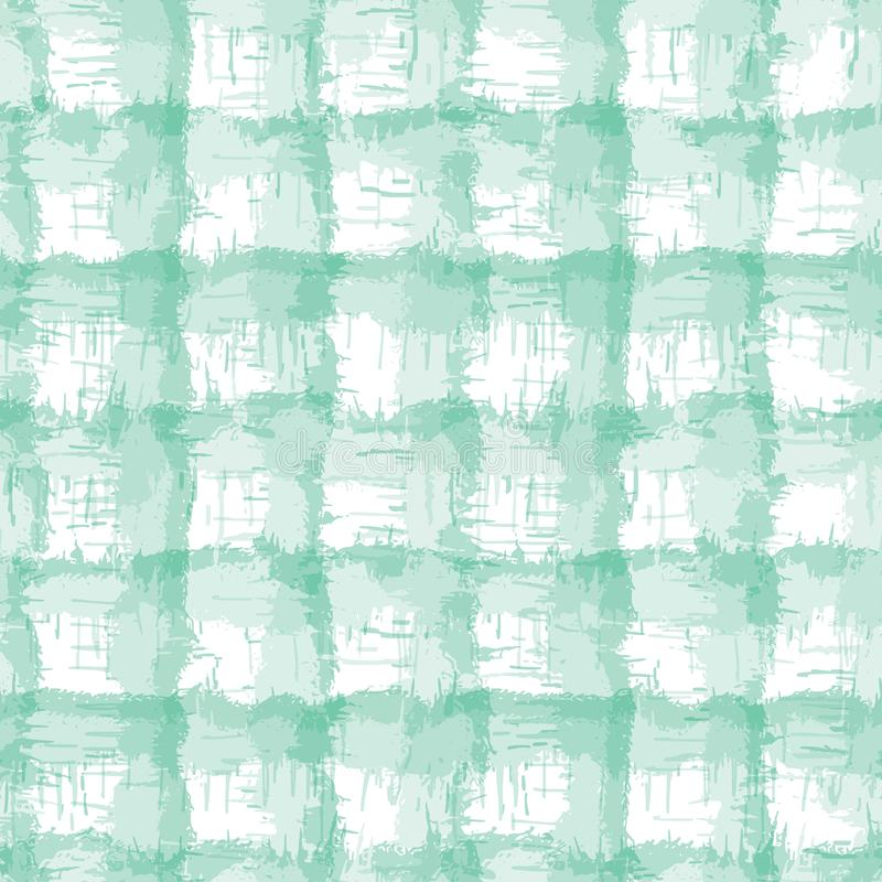 Blurry shibori plaid check tie dyp background Padrão constante irregular crosta entre crus resistentes a fundo branco Neo Mint ilustração do vetor