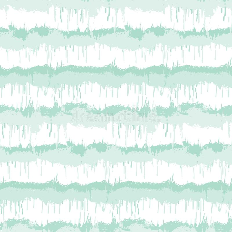 Blurry shibori striped tie dye background. Seamless pattern irregular stripe on bleached resist white background. Neo mint style stock illustration