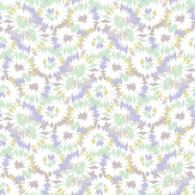 Blurry shibori tie dye naive daisy background. Seamless pattern on bleached resist white. Spring neo mint pastel for irregular dip royalty free illustration