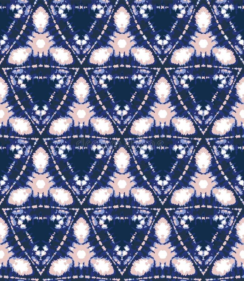 Blurry shibori tie dye triangle diamond background. Seamless pattern indigo coral bleached resist background. Japanese style vector illustration