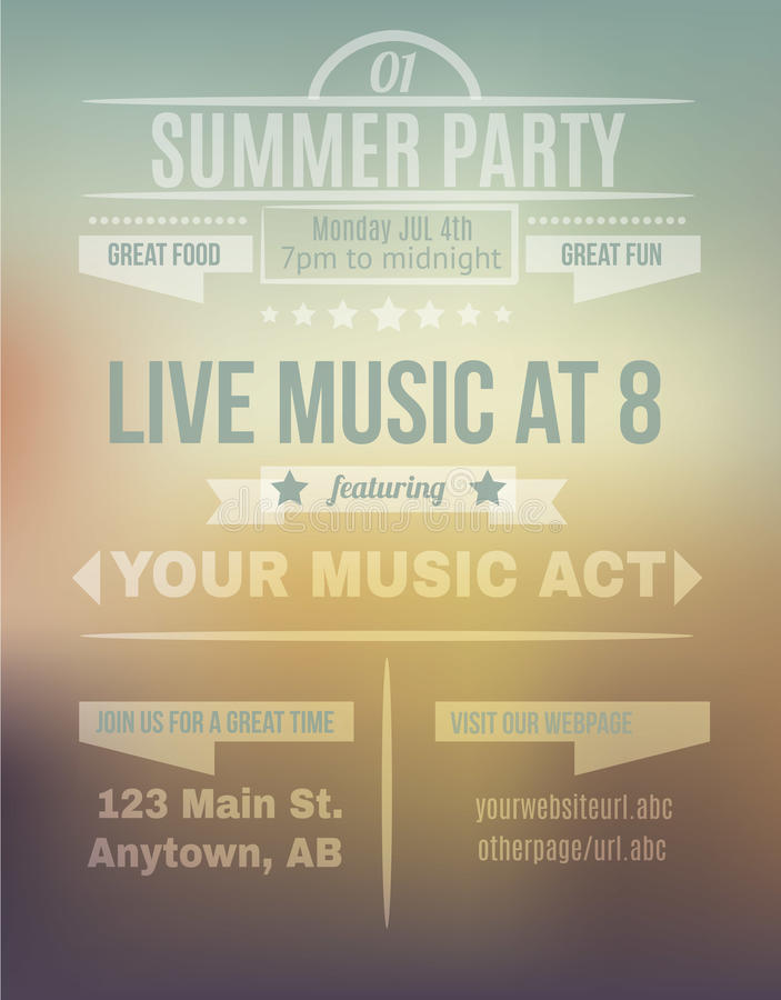 Blurry summer background flyer template. Summer sunset background flyer invitation template design royalty free illustration