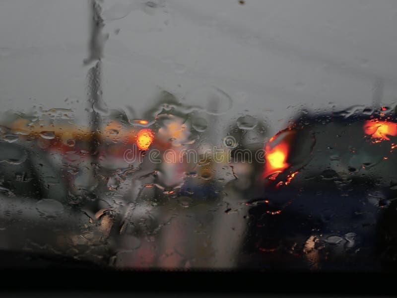 Blurry of traffic. On raining day royalty free stock photo