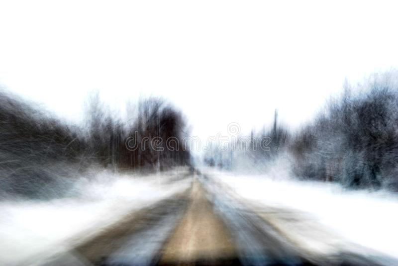 Blurry winter picture on the road royalty free stock photos
