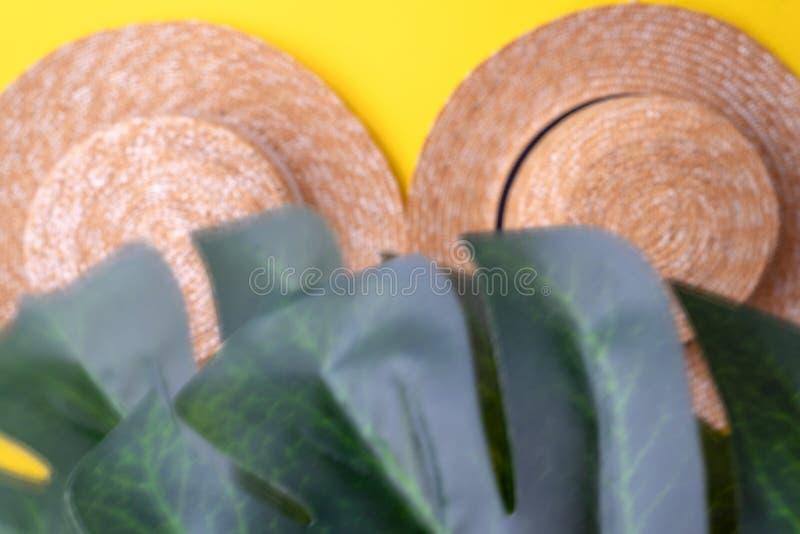 Blurry Zwei Strohhüte für Frauen und tropische Mistzweige auf gelbem Hintergrund Konzept für Reise, Reise und Tourismus stockbild