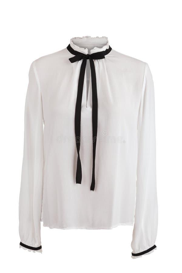 Blusa bianca elegante con gli arricciamenti fotografia stock