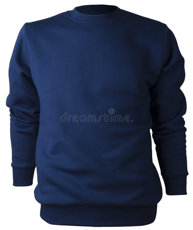 Blusa blu scuro isolata non stampabile della maglietta felpata del poliestere del cotone senza chiusura lampo immagini stock
